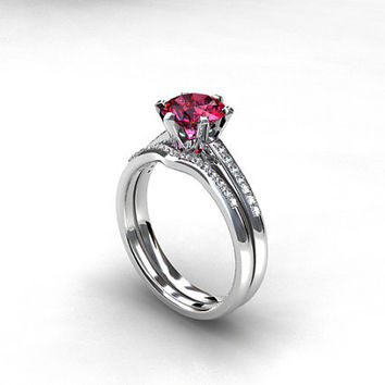 engagement ring set, Pink tourmaline engagement ring, diamond ring, solitaire, diamond wedding ring, pink, unique, micro pave, curved band