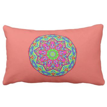 Optimism Prism Aqua Mandala Coral Pink Pillow