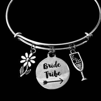 Bride Tribe Jewelry Expandable Charm Bracelet Adjustable Wire Bangle Wedding Shower Bridal Trendy One Size Fits All Gift Champagne Daisy Flower