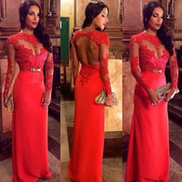 2015 New Sheer Red Women Lace Prom Ball Dresses Long Sleeve Formal Evening Gown