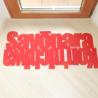 Doormat with double message japanese: Konnichiwa - Sayonara. Home decor