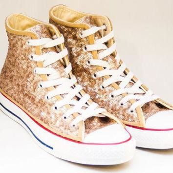 DCKL9 Sequin Champagne Gold Canvas Converse Canvas Hi Top Sneakers Tennis Shoes