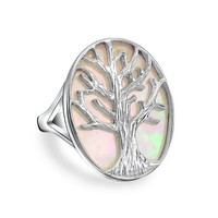 Bling Jewelry Tree of Life Oval Mother of Pearl Ring 925 Sterling Silver