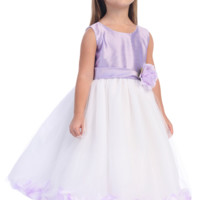 Lilac Shantung & White Tulle Blossom Flower Girl Dress with Floating Flower Petals (Girls 2T - Size 12)
