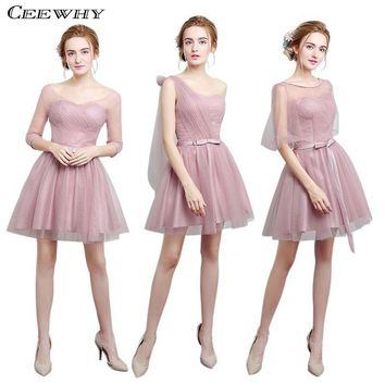 CEEWHY Tulle Half Sleeves Draped Wedding Party Dress Avove knee Short Bridesmaid Dresses Formal Gowns Cheap Homecoming Dress