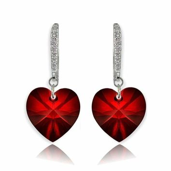 Sterling Silver Ruby Heart Dangle Earrings Created with Swarovski Crystals