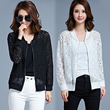Women Jackets 2016 Autumn Winter Lace Cardigan Long Sleeve Coats Outwear Ceket Chaquetas Mujer Casacos Mulher Plus Size M-5XL
