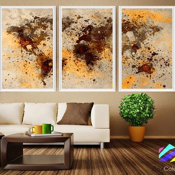 XL 3 Panels Poster World Map Art Print Photo Paper Abstract Watercolor Brown beige Wall Decor Home (frame is not included) FREE Shipping USA