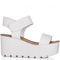 SUN Wedge Heel Platform Flatform Sandal Shoes - White Leather Style
