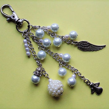 Angel keyring, angel bag charm, angel wing charm, zipper charm, angel gift, bag accessory, angel charm, angel accessory, guardian angel