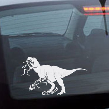 T-Rex eating stick figure family car decal, graphic decal, vinyl decal, decal, car sticker