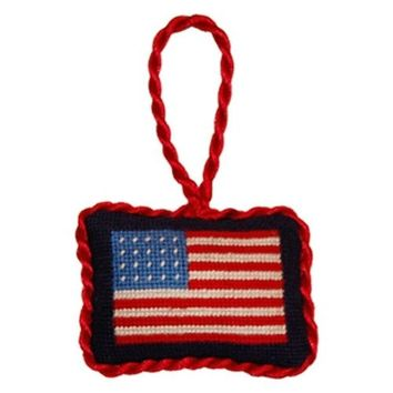 American Flag Needlepoint Christmas Ornament in Blue by Smathers & Branson