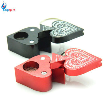 1Pcs New Key Chain Poker Style Smoking Pipe Mini Pipe Portable Metal Tobacco Pipe Smoking Weed Accessories Color Random
