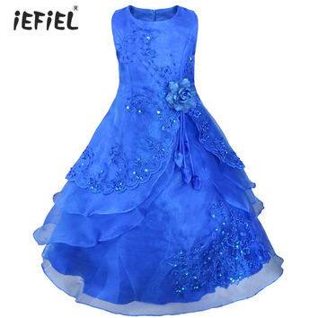 Embroidered Flower Girl Dress Kids Pageant Party Wedding Bridesmaid Ball Gown Prom Princess Formal Occassion Long Dress 4-14Y