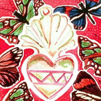 Blank Card, Note Card, Love, Heart, Milagro, Cherry Red, Pink, Green