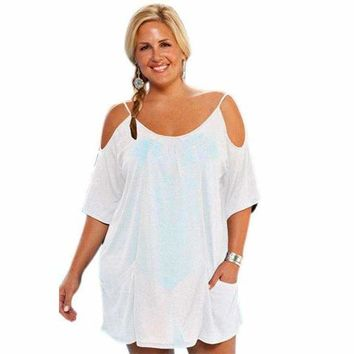 White Open Shoulder Plus Size Tunic Beach Cover up