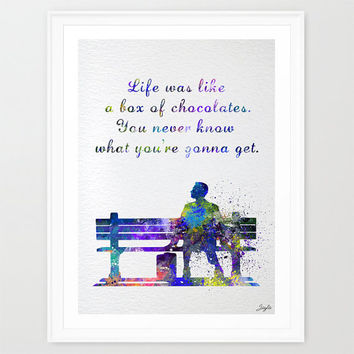 Forrest Gump Quotes Watercolor illustration Art Print,Kids Art Print,Home Decor,Movie Poster,Wedding,Birthday Gift, #197