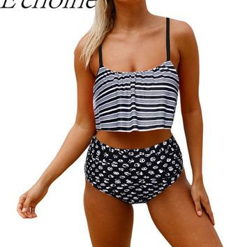 Echoine 2017 New Women Tankini Swimwear Ruffle Striped Strappy Crop Bikini Top High Waist Bottom Two Piece Swimsuit Beachwear
