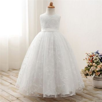 Snow White Rusitc Flower Girl Wedding Dress Summer Kids Dresses For Girl Prom Gown Designs Children's Costume For Kids Clothes