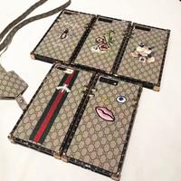 GUCCI pattern embroidering iPhone Phone Cover Case For iphone 6 6s 6plus 6s-plus 7 7plus A