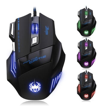 Feitong Professional Wired Gaming Mouse Gamer 7 Button 5500 DPI LED Optical USB Wired Computer Mouse Mice Cable Mouse