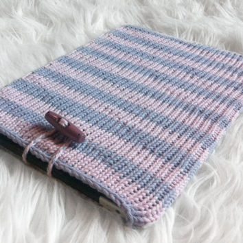 Organic cotton iPad sleeve with button / pink and lilac stripes