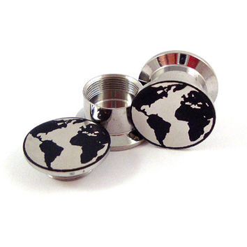 "Globe Steel Internally Threaded Plugs 2g 6mm 0g (8 mm) 00g (10mm) 1/2"" (12mm) 9/16"" (14mm) 5/8"" (16mm) 18mm 20mm 22mm 24mm Ear Stash Gauges"