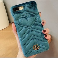 GUCCI iphone7 Gucci 6plus iphone phone shell 8 high-end small fresh X Blue