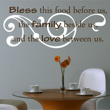 Kitchen Decals - Bless The Food Before Us Wall Decal - Kitchen Vinyl Decal, Bless Our Family Decal, Kitchen Quotes, Vinyl Quote, Decals- H53