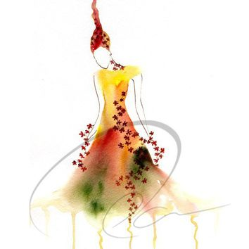 Melt Away Memory - Art Print whimsical watercolor painting feminine fire woman fashion dress sketch female home decor Canadian Oladesign 5x7