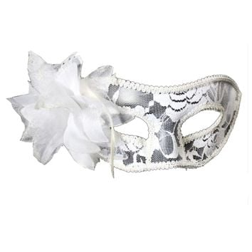 Lady Masquerade Halloween Mardi Gras Party Mask Sexy Lace Eye Mask-White