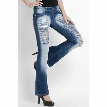 Casual Destroy Wash Slimming Flare Jeans For Women - Blue 28