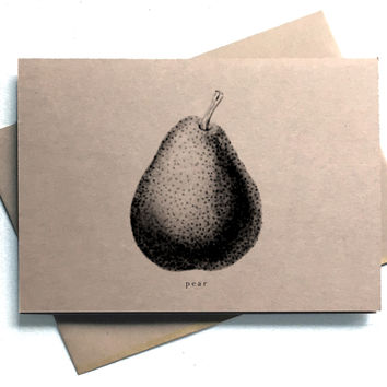 Set of 8 Fruit Illustrations Stationery - Kraft Paper Folding Note Cards and Envelopes - Eight Blank Botanical Note Cards - Pear - Lemon