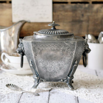 Antique English/Edwardian/Victorian Silver Plate Tea Caddy and Spoon Set - by John Round & Sons - circa 1880's
