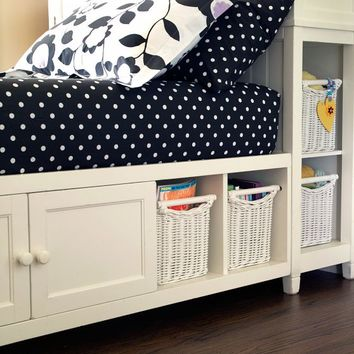 Beadboard Storage Bed + Hutch