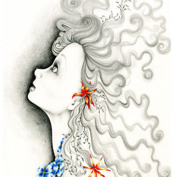 "Art Drawing & Illustration a Fine Art Giclee Print of my Original Pencil Drawing Illustration ""Reach For the Stars"""