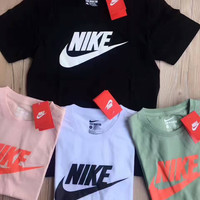 NIKE fashion hot sale five color round neck short sleeve T-shirts Pink