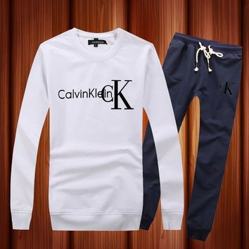 CALVIN KLEIN Woman Men Long Sleeve Shirt Top Tee Pants Trousers Set Two-Piece Sportswear-4