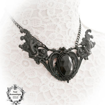 Arachne gothic necklace-black necklace-gothic jewelry-ornate necklace-gothic necklace