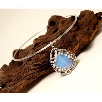 Handmade wire wrapped moonstone pendant necklace