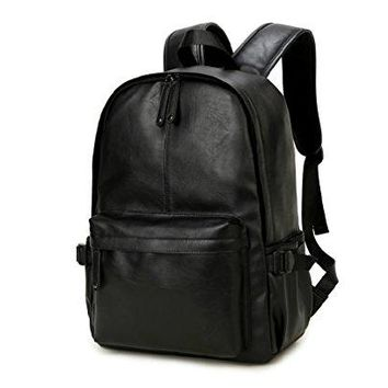 NingDom PU Leather Strong Backpack Laptop Book-bag Vintage School College Rucksack Bag Black