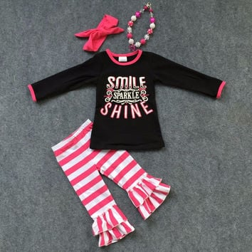 Smile, Sparkle, Shine- Pink Striped Ruffle Pants Set w/ Accessories
