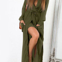Green Deep V Neck Self-Tie Pockets Chiffon Dress
