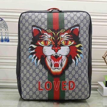DCCKJG8 Gucci Women Fashion Leather Angry Cat Print School Bookbag Backpack
