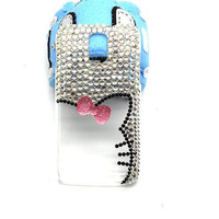 Handmade hard case for SAMSUNG GALAXY S2 Skyrocket: Bling kitty with bow (customized are welcome)