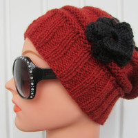 Slouchy Black Hat with a Red Flower  Hand Knit Hat by Madebyfate