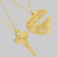 Nickel Free Key to My Heart Set of 2 Pendant Necklaces
