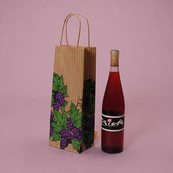 Kraft Brown Purple Grape Design Natural Twisted Handle Wine Liquor Bottle Gift Favor Bags, 5.5 x 3 x 12.5 inches, 25 pack