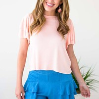 Land My Love Ruffle Sleeve Cropped Top - Blush
