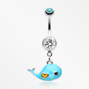 Adorable Baby Whale Sparkle Belly Button Ring